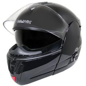 Hawk H-6607 Glossy Black Dual-Visor Modular Motorcycle Helmet with Bluetooth