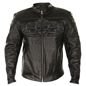 Xelement Mens Armored Leather Motorcycle Jacket with Skull Embroidery BXU6050