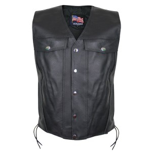 USA Leather Men's Undercover Gun Pocket Vest 1207