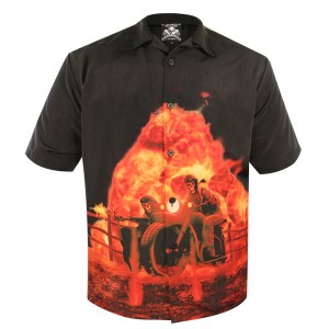 Rockhouse Fighting Skeletons Button up Short Sleeve Shirt RHPM100