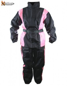 Xelement Ladies 2 Piece Black and Pink Motorcycle Rain suit RN4786