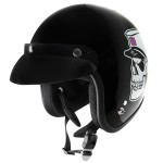 Outlaw V320 Dixie Skull Motorcycle Open Face Helmet