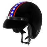 Outlaw V320 Stripe and Stars Motorcycle Open Face Helmet