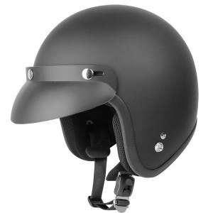 Outlaw V320 Flat Black Motorcycle Open Face Helmet