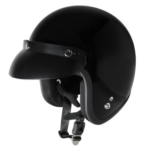 Outlaw V320 Glossy Black Motorcycle Open Face Helmet