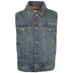 Xelement Mens Dirty Blue Denim Motorcycle Vest B284