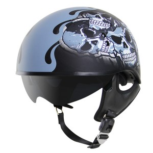 Outlaw V5-18 Ghost Flat Black with Visor Motorcycle Half Helmet