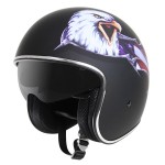 Outlaw V5 Eagle Flat Black with Visor Open Face Helmet