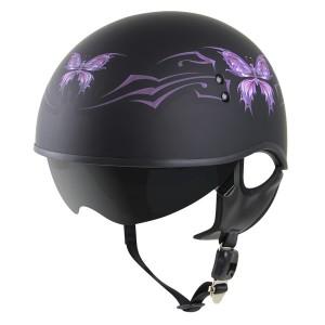Outlaw V5-05 Butterfly Flat Black with Visor Motorcycle Half Helmet