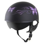 Outlaw V5-05 Butterfly Flat Black with Visor Motorcycle Half Helmet