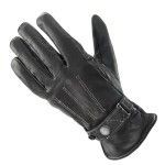 Xelement Women's Classic Button Snap Black Leather Motorcycle Gloves UK491