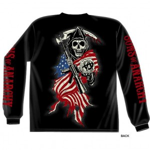 Sons of Anarchy Grim Reaper USA Flag Long Sleeve T-Shirt SOA-28-108
