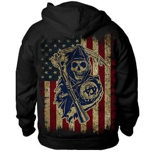 Sons of Anarchy 'American Flag SAMCRO Reaper' Crew Hoodie SOA-28-420