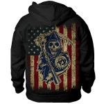 Sons of Anarchy 'American Flag SAMCRO Reaper' Crew Hoodie SOA-28-420