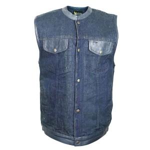 Xelement Men's Blue Denim Mid Collar Gun Pocket Vest DM-X2242