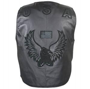Men's American Eagle USA Black Leather Vest 3011