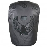 Men's American Eagle USA Black Leather Vest 3011