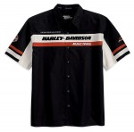 Screamin Eagle Racing Stripe Mechanic Black Short Sleeve Shirt 99149-10VM