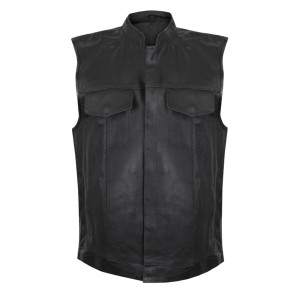 USA Leather Men's Combat Gun Pocket Vest 1205