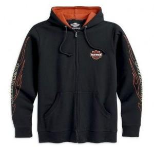 99061-12VM - Harley-Davidson Mens Flames Hooded Sweatshirt Black Cotton Long Sleeve Shirt