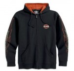 99061-12VM - Harley-Davidson Mens Flames Hooded Sweatshirt Black Cotton Long Sleeve Shirt