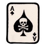 Ace of Spades Card With Skull and Crossbones Small Patch
