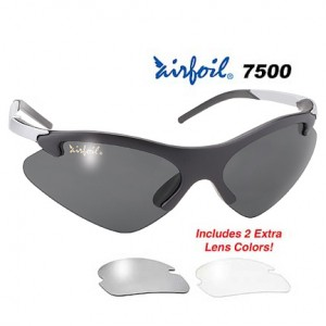 Airfoil Sunglasses With 3 Interchangeable Polycarbonate Lenses UV 400 Protection