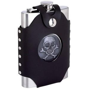 Skull & Crossbones 8 oz. Stainless Steel Flask with Sheath