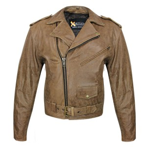 Men's Xelement Classic Distressed Brown Leather Jacket B-7134
