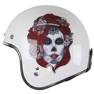Lucky 13 Lady with Red Roses Open Face Helmet