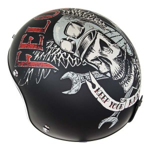 Lucky 13 Men's Felon Matte Black Open Face Helmet