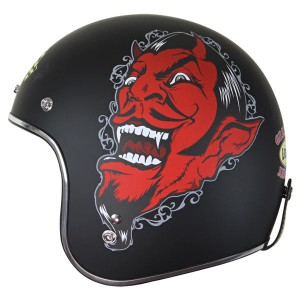 Lucky 13 Men's Grease Gas & Glory Matte Black Open Face Helmet