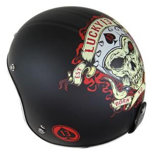 Lucky 13 Men's Motor Skull Matte Black Open Face Helmet