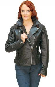 Road Angel - Ladies Black Leather Motorcycle Jacket L265Z-01