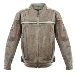 Xelement Men's Burn Rubber Tan Leather Jacket with Gun Pocket BXU1891