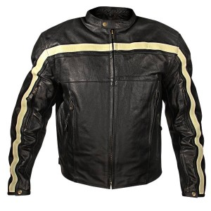 Xelement Armored Mens Black Leather Motorcycle Jacket with Beige Stripes XS-PR-100
