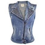 Dolled Up Women's Light Blue Denim Vest
