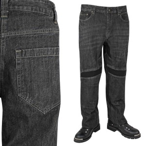 Xelement Men's Throttle Black Denim Armored Motorcycle Pants K-1972