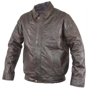 Men's Distressed Brown Bomber Leather Jacket WH1A4305