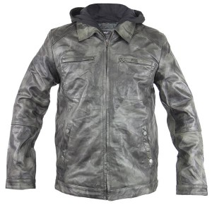 Men's Hooded Distressed Grey Leather Jacket BK1A3359