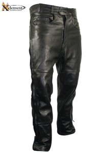 Xelement Premium Leather Motorcycle Over Pants with Side Zipper & Snaps B7470