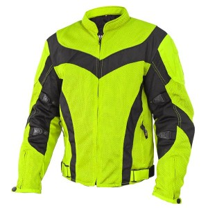 Xelement Invasion Men's Neon Green Mesh Armored Motorcycle Jacket  CF-6019-66