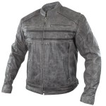 Xelement Sigma Men's Distressed Grey Leather Motorcycle Jacket BXU1993