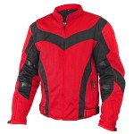 Xelement Invasion Men's Red/Black Mesh Armored Motorcycle Jacket with Gun Pocket CF-6019-77