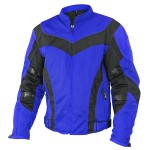 Xelement Invasion Men's Blue/Black Mesh Armored Motorcycle Jacket with Gun Pocket CF-6016-33