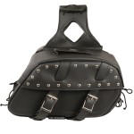 Black Chrome Studded Motorcycle PVC Medium Size Saddlebag X611.01