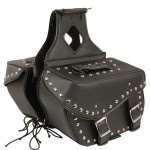 Dual Buckle Chrome Studded PVC Medium Size Motorcycle Saddlebag X553.01