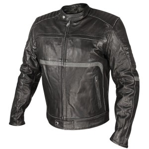 Xelement Mens Armored Black Leather Motorcycle Jacket with Grey Stripe Accents BXU177199