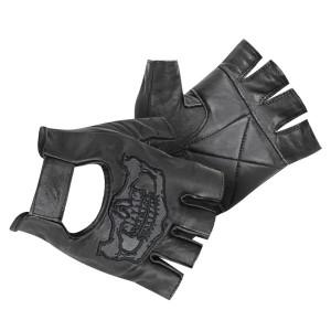 Xelement Mens Reflective Skull Fingerless Leather Gloves X-783