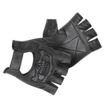 Xelement Mens Reflective Skull Fingerless Leather Gloves X-783